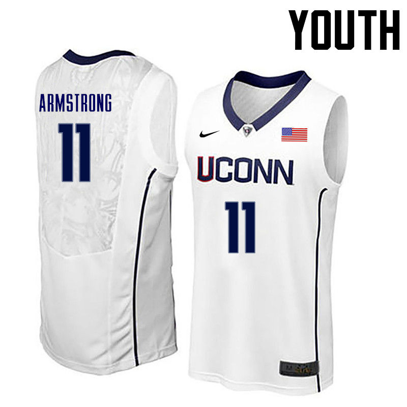 Youth Uconn Huskies #11 Hilton Armstrong College Basketball Jerseys-White